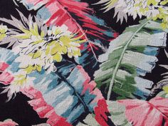Hawaiian Vintage Barkcloth Fabric Rare Black 30s Hawaiian ALOHA Pillow Sized Remnant