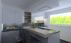 Moderne L Keuken : Moderne keuken zwart wit kookeiland en houten wandkasten veta