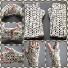 Crocheted EASY fingerless gloves - free pattern & video here: http://handmade-rukodelky.blogspot.com/2015/02/crocheted-simple-gloves.html