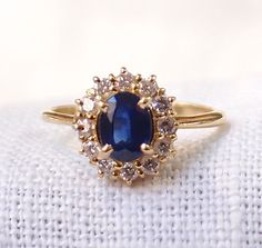 Vintage 14k Gold Sapphire and Diamond Ring 1.6 Carat by hotvintage