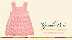49aa005924b3f Vestido para bebita de 0 a 3 meses tejido en crochet (Parte 2  falda)