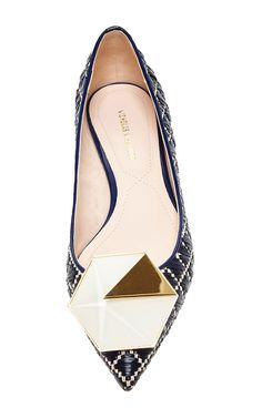 Nicholas Kirkwood flat is rendered in navy blue raffia leather and features a hexagon embellished toe. Preorder now on Moda Operandi Fashion Shoes, Fashion Accessories, Emo Fashion, Shoes Sandals, Heels, Flat Shoes, Navy Flats, Loafer Sneakers, Shoes 2015