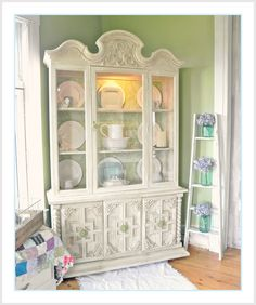 Shabby Farmhouse China Cabinet Makeover - Fox Hollow Cottage