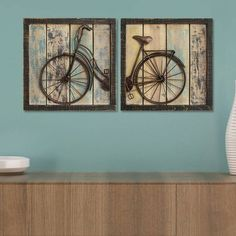 Cute Distressed Bicycle Wall Decor. Perfect for rustic and farmhouse style. Love this wood look. #afflink