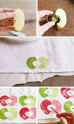 Make these cute and easy apple-stamped tea towels from Lulu the Baker!