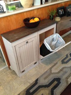 Custom Listing for Shari Wood Trash Bin by MiddleOJune on Etsy