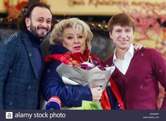 Moscow, Russia. 13th Feb, 2017. Russian ice dancer Ilya Averbukh, Russian figure skating coach Tatyana Tarasova and Russian figure skater Alexei Yagudin (L-R) seen during a press conference on Tarasova