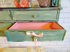 A Wash of Custom Made Annie Sloan Inside the Drawers for an Extra Special Touch