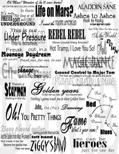 David Bowie Lyrics Collage by ~jennamae93 on deviantART