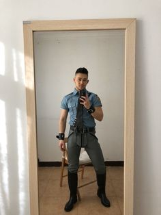 Leather Men, Leather Boots, Asian Men Long Hair, Riding Boots, Man Boots, Motorcycle Leather, Horse Tack, Sexy Men, Bodybuilding