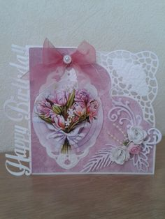 VerjaardagsKaart Pretty Cards, Cute Cards, Allg, Marianne Design Cards, Card Making Designs, Shabby Chic Cards, Picture Cards, Flower Cards, Craft Items