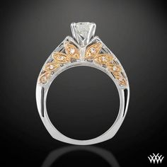 """White Gold and Rose Gold """"Delicate Blush"""" Diamond Engagement Ring"""