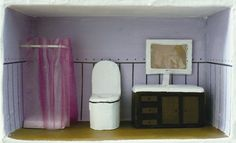 bano_casita de munecas. Paper mache dolls house furniture