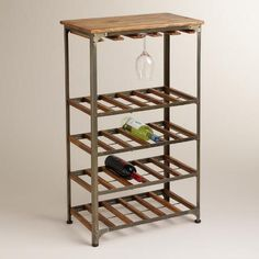 Bring an industrial-chic feel to your kitchen or bar with our Aiden 24-Bottle Wine Rack. Featuring a stylish combo of rustic metal and mango wood, this wine rack conveniently holds up to 24 bottles of wine and stores 12-15 wine glasses - all in one place.