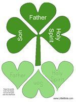 """Children's crafts that teach the true meaning behind The real patron saint (or apostle of Ireland) """"St. Patrick"""" and his ministry to teach Christianity to the Irish. He was known for using the clover (Which grows in abundance in Ireland) to demonstrate the trinity as being one in the same. God The Father, Jesus the Son and The Holy Spirit that dwells in us when we accept God's Son, Jesus as our savior and only way to Heaven. God bless!"""