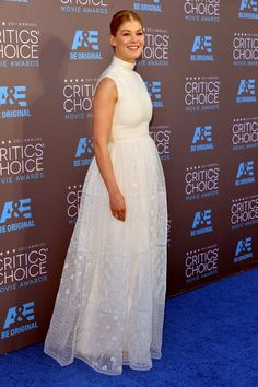 Considerably higher-end than Sharon Stone's famous Gap turtleneck: Rosamund Pike in white Valentino couture at the Critics' Choice Movie Awards 2015.