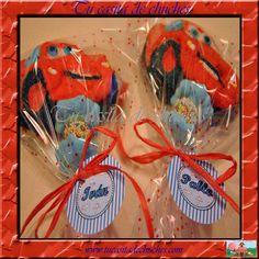 Brocheta de chuches Cars, ideal para detalles en cumpleaños, comuniones...Disponible en www.tucasitadechuches.com