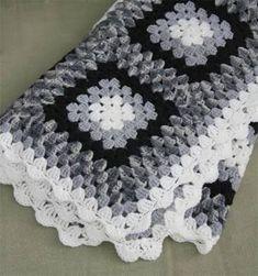 Image result for black and white crochet blanket