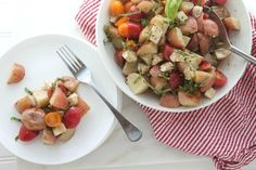 Caprese Potato Salad via JennySheaRawn.com. This fresh, light, mayo-free potato salad is perfect for summertime cook-outs and picnics. It highlights the best of summer produce – fresh basil and tomatoes. (sponsored)