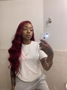 I envy hair bundle with closure - Hair / wigs / brai .- Ich beneide Haare Bündel mit Verschluss – Hair/wigs/braids – Frisuren I envy hair bundle with closure – Hair / wigs / braids – # - My Hairstyle, Wig Hairstyles, Frontal Hairstyles, Pelo Color Vino, Bright Red Hair, Burgundy Hair Black Girl, Grey Hair, Red Hair On Brown Skin, Curly Hair Styles