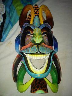 Costa Rica Art, Japanese Mask, Hawaiian Tiki, Tiki Art, African Sculptures, Alien Worlds, Gourds, Mardi Gras, Folk Art