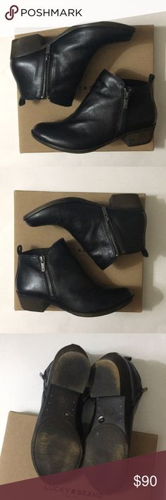 Lucky Brand Basel black booties great quality. Only worn around the house. I ordered these off of poshmark and unfortunately, they don't fit. I typically am I size 7.5-8.5. So if you're a size 8.5, these probably won't fit you!  Comes in original box. Lucky Brand Shoes Ankle Boots & Booties