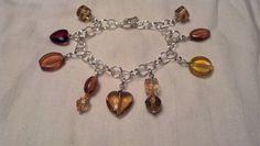 Chain mail charm bracelet in orange