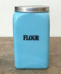 McKee Chalaine Blue Press on Top 48 Ounce FLOUR Canister Storage Jar ~ Delphite #McKee