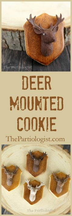 Deer Mounted Cookie Tutorial ~ The Partiologist American Cookie, Deer Mounts, Cookie Tutorials, Up For The Challenge, Dessert Recipes, Desserts, Cute Food, Decorated Cookies, Themed Cakes
