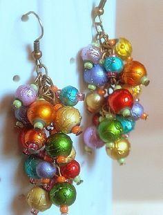 Bright cluster earrings rainbow Clip-On Earrings or HOOKS Carmen Miranda Dangle Earrings Clip On Earrings dramatic handmade jewelry E191