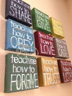 "SET of 9 -""Teach Me"" 6x6x1.5""Canvas Blocks - Inspirational Art - Wall Art, Nursery, Child's Room, Home Decor, Teacher Gift. $135.00, via Etsy."