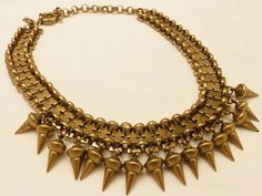 Handmade Brass Spike Necklace New York by TheJewelryCabinet