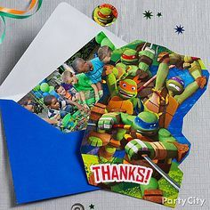 Here's a smashing idea for your Teenage Mutant Ninja Turtle party thank-you notes: tuck in a photo of the heroes in action!