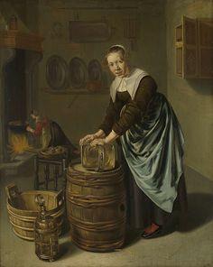 Woman scouring a vessel, Willem van Odekercken, 1631 - 1677 - Rijksmuseum 17th Century Clothing, Johannes Vermeer, 17th Century Art, Poster Prints, Art Prints, Dutch Painters, Art Reproductions, Find Art, Digital Prints