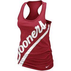 Nike Oklahoma Sooners Ladies Slanted Boyfriend Tank Top - Crimson