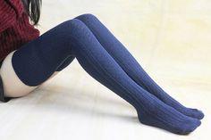 35% off Navy Blue Warm Winter Legwear Knit High Boot Socks Thigh High Knit Socks Knee Socks Thigh High Sock For Womens Boot Socks zjb1067
