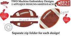 Football Embroidery Applique Design-American Football