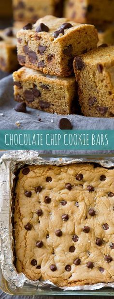 Soft & Chewy Chocolate Chip Cookie Bars - No mixer required and there's no waiting for cookie dough to chill with these soft & chewy chocolate chip cookie bars!