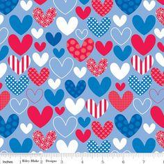 Doodlebug Designs - Star Spangled - Stripes Hearts in Blue