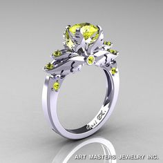 Classic Angel 14K White Gold 1.0 Ct Yellow Sapphire Solitaire