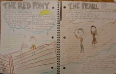 "We wrote ""Important Book""-inspired passages based on the two Steinbeck novellas we were reading in seventh grade.  You can do this in your writer's notebook with any characters you're studying from any book.  Here's my online lesson: http://corbettharrison.com/free_lessons/Important-Book.htm#2  This notebook is from Yajaira, 7th grade."
