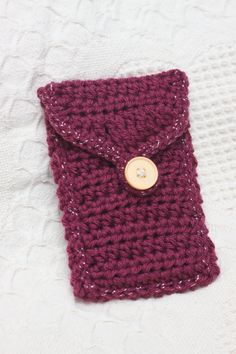 Gorgeous Burgundy Versatile Cell Phone Pouch/Clutch - fits most phones (handmade crochet). $13.00, via Etsy.