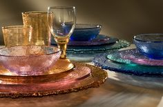 Fire & Light hand-poured colored glass tableware.  Made from recycled glass.  Represented by Human Arts Gallery in Ojai, CA.