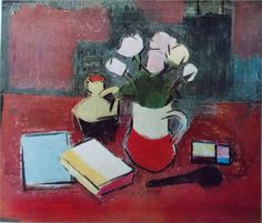 Still Life with Flowers, Books and a Pipe - Alexandru Ciucurencu
