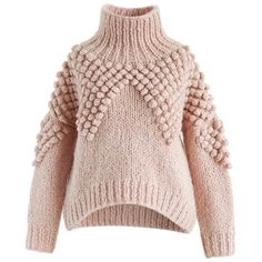 Chicwish As Peppy As You Are Pom-Pom Turtleneck Sweater (265 RON) ❤ liked on Polyvore featuring tops, sweaters, jumpers, shirts, pink, turtle neck sweater, turtle neck crop top, cropped sweaters, turtle neck shirt and cropped turtleneck
