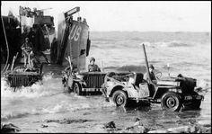 Jeep 4x4s landing at Omaha Beach from a Landing Craft Tank, 8 June 1944.