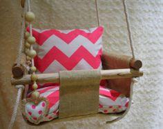 Handmade Burlap Baby Swing, Toddler Swing or Kids Swing and Rattle