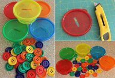 feinmotorik fördern kinder-farben-sortieren-knöpfe-plastikschale-bunt