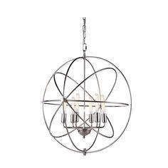 "Elegant Lighting 1453D25PN Vienna Collection Pendant Lamp D:25"""" H:27"""" Polished Nickel Finish"