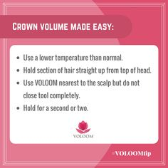 Looking to create more crown volume? Try this technique the next time you use # VOLOOM! #hairvolume #VOLOOMtip